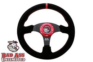BAU Black Suede Steering wheel with Red Stitching