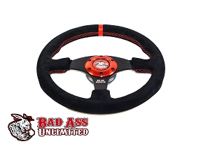 SUEDE STEERING WHEEL WITH RED STITCH