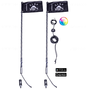 LED Whips with Blue Tooth Remote and Quick Release - 51/50 187 LED Whip