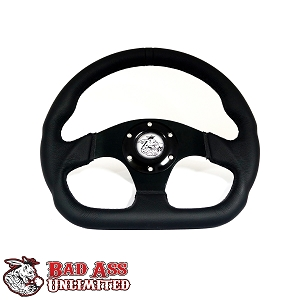 Black Leather 6 hole D - Ring Steering Wheel